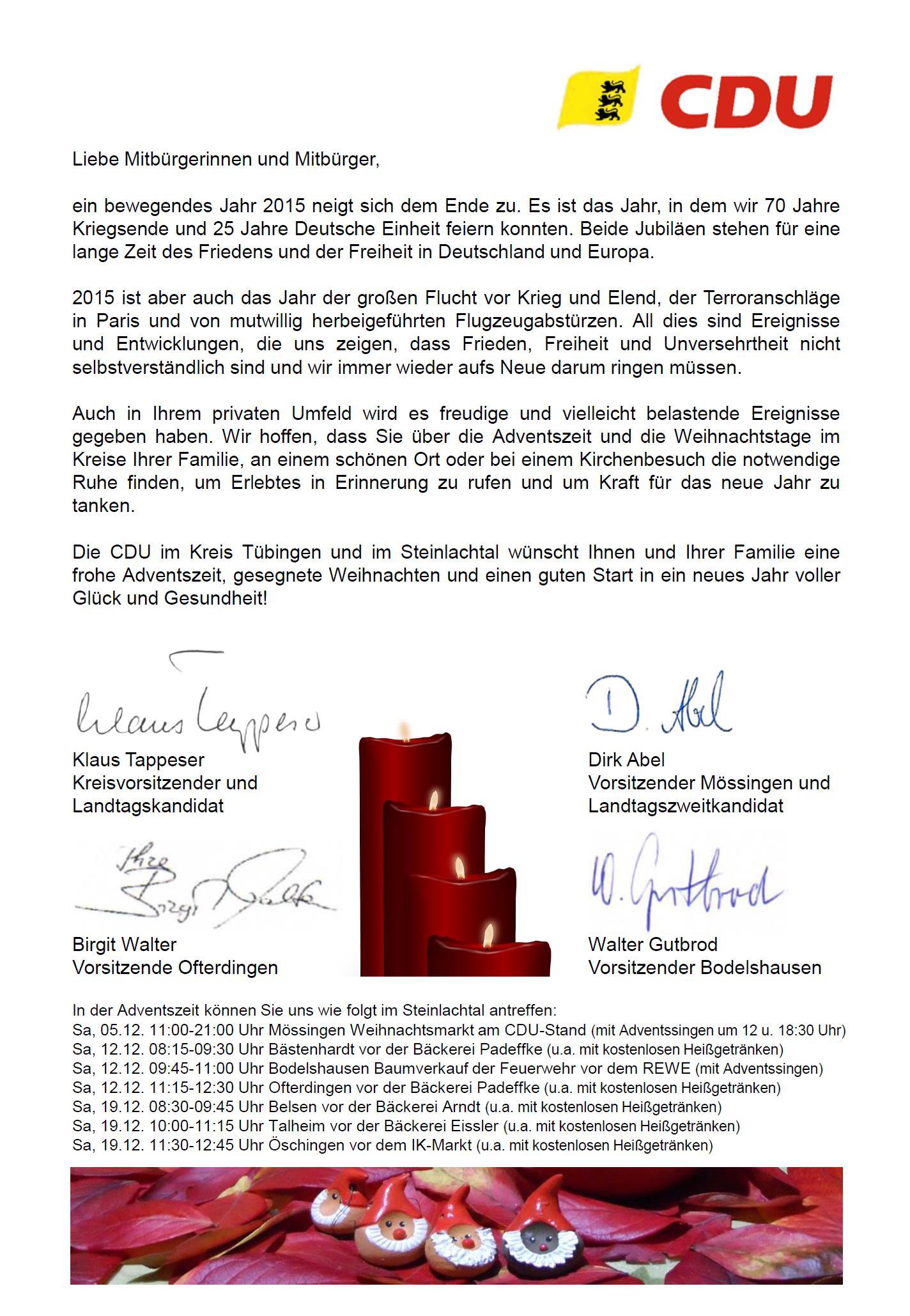 CDU Stadtverband Mössingen - Die CDU Mössingen wünscht Ihnen und ...